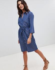 Платье в тонкую полоску с вырезом на спине Liquorish - Темно-синий 1277838