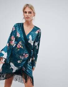 Платье с запахом, кисточками и оборками Liquorish - Мульти 1277832
