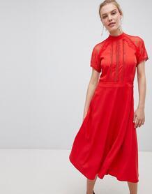 Приталенное платье миди с кружевной отделкой Liquorish - Красный 1286720