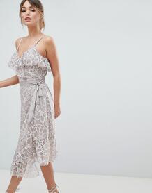 Кружевное платье миди с оборкой Liquorish - Фиолетовый 1277822