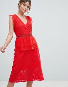 Кружевное платье миди Liquorish - Красный 1277829