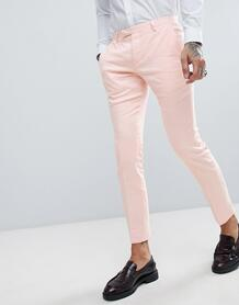 Розовые супероблегающие брюки с добавлением льна Twisted Tailor weddin 1225924