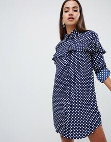 Платье-рубашка в горошек с оборками AX Paris - Синий 1332357