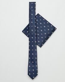 Темно-синий узкий галстук и платок-паше с принтом пейсли ASOS DESIGN 1317954