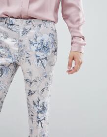 Розовые супероблегающие брюки с цветочным принтом Twisted Tailor 1225958