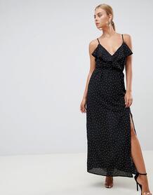 Платье макси в горошек с разрезом Missguided - Черный 1344769