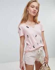 Свободная футболка с принтом Maison Scotch - Розовый 1298967