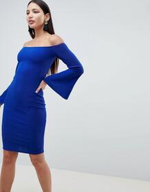 Платье миди с рукавами клеш AX Paris - Синий 1296005