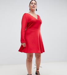 Свободное платье с фактурной отделкой по краю AX Paris Plus - Красный 1298135