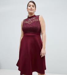 Кружевное короткое приталенное платье 2-в-1 AX Paris Plus - Красный 1298134