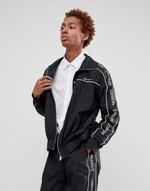 Черная спортивная куртка с фирменной полосой по бокам Mennace - Черный 1269444