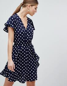 Платье мини в горошек AX Paris - Темно-синий 1295962