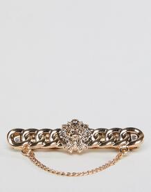 Золотистый зажим для галстука с отделкой в виде головы льва и цепочкой ASOS Edition 1219047