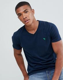 Темно-синяя футболка с V-образным вырезом Abercrombie & Fitch pop icon Abercrombie& Fitch 1298198