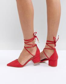 Красные туфли на среднем каблуке с завязками на щиколотках RAID 1240866