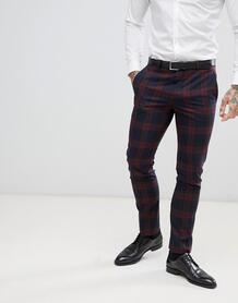 Бордовые брюки в клетку супероблегающего кроя Twisted Tailor - Красный 1225960