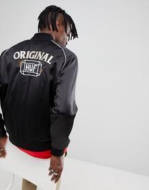 Черная атласная куртка с вышивкой HUF Cabbie - Черный 1245025