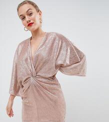 Платье мини с запахом цвета розового золота Flounce London Petite 1312684