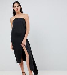 Атласное платье-бандо миди ASOS DESIGN Tall - Черный Asos Tall 1298888