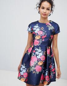 Приталенное платье со свободной юбкой и цветочным принтом QED London 1283861