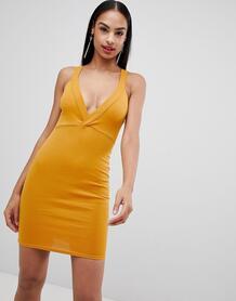 Облегающее платье с глубоким вырезом Missguided - Желтый 1286145