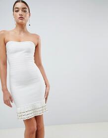 Бандажное платье с кисточками по нижнему краю Missguided - Белый 1286180