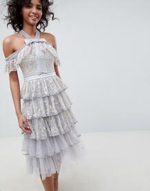 Голубое винтажное платье миди с вышивкой и вырезами на плечах Needle & Needle & Thread 1280818