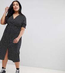 Платье миди в горошек с присборенными рукавами Influence Plus - Черный 1294487