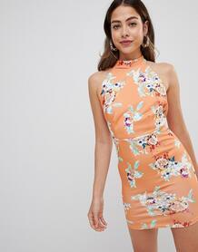 Платье с халтером и принтом Missguided - Оранжевый 1286148