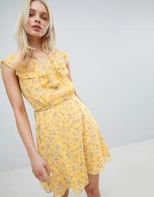 Платье с цветочным принтом и оборкой Jack Wills - Желтый 1250531