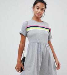 Свободное платье мини с разноцветной отделкой ASOS DESIGN Petite Asos Petite 1297743