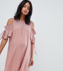 Свободное платье в клетку с открытыми плечами Glamorous - Оранжевый Glamorous Bloom 1289492