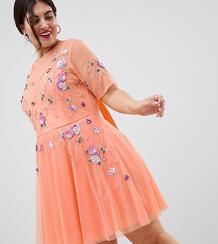 Короткое премиум-платье с открытой спиной и тюлевой отделкой ASOS DESI Asos Curve 1277978