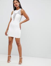 Платье мини с сетчатыми вставками Rare London - Белый 1292417