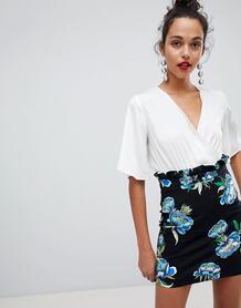Мини-юбка с цветочным принтом и сборками на поясе River Island 1322572