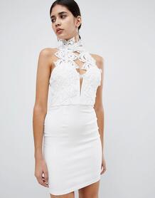 Платье мини с высоким воротом и кружевом Rare London - Белый 1292379