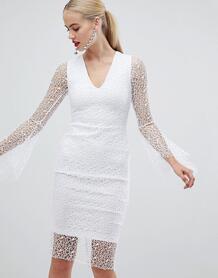 Белое кружевное платье-футляр с рукавами клеш Vesper - Белый 1295400
