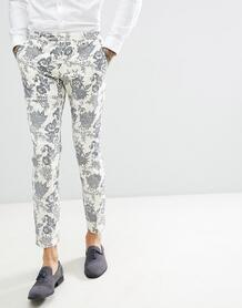 Кремовые льняные брюки скинни с флоковым рисунком Twisted Tailor weddi 1225941