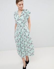 Платье миди с широкими рукавами Closet London - Мульти 1292575