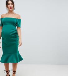 Облегающее платье-бандо миди True Violet Maternity - Зеленый 1289474