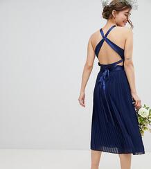 Плиссированное платье миди с перекрестной отделкой на спине TFNC Petit TFNC Petite 1219906