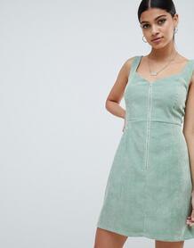 Вельветовое платье мини с молнией Missguided - Зеленый 1300964