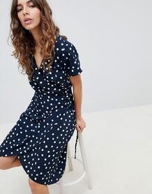 Платье с принтом и запахом b.Young - Темно-синий 1223204