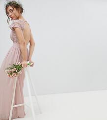 Платье макси с открытой спиной и фигурной кружевной отделкой TFNC Peti TFNC Petite 1219881