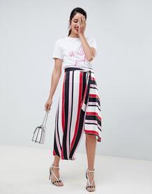 Асимметричная юбка миди в полоску с поясом River Island - Красный 1297091