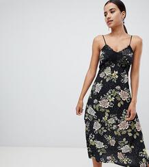 Платье миди с цветочным принтом и кружевной отделкой Missguided 1277688