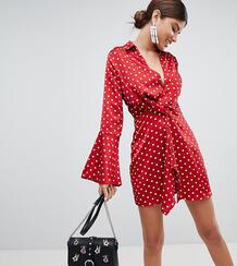 Платье мини в горошек с перекрученной отделкой и расклешенными рукавам MISSGUIDED 1274803