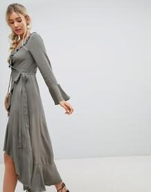 Платье макси с запахом и оборками Lunik - Зеленый 1215805