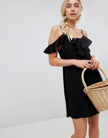 Платье мини с оборками и открытыми плечами Lunik - Черный 1215784