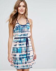 Платье в спортивном стиле с поясом и принтом Lavand - Мульти 1120263
